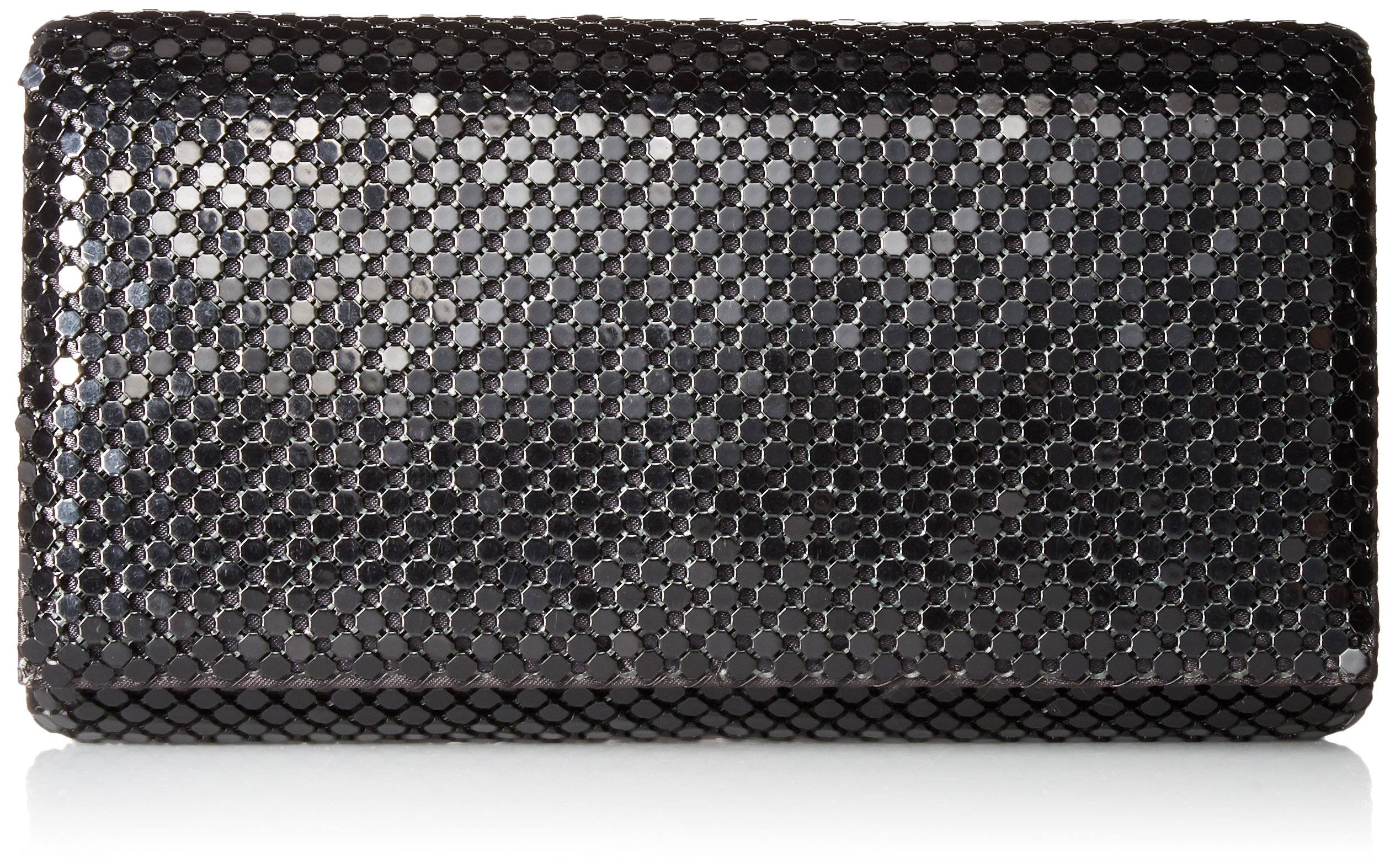 Jessica McClintock Womens Metal Mesh Roll Evening Bag Clutch Purse (Shoulder Chain Included 4.5'' x 7.5'' x 2'')
