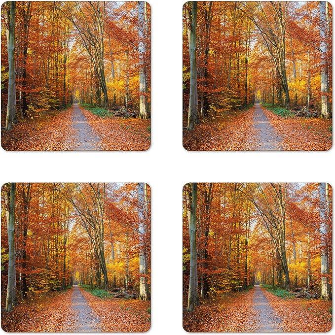 Rustic Coasters,Sesonal Decor Napkin Coasters Set of 4 Upcycled Coasters Decoupage Coasters Tile Coasters Autumn Dragonflies Coasters