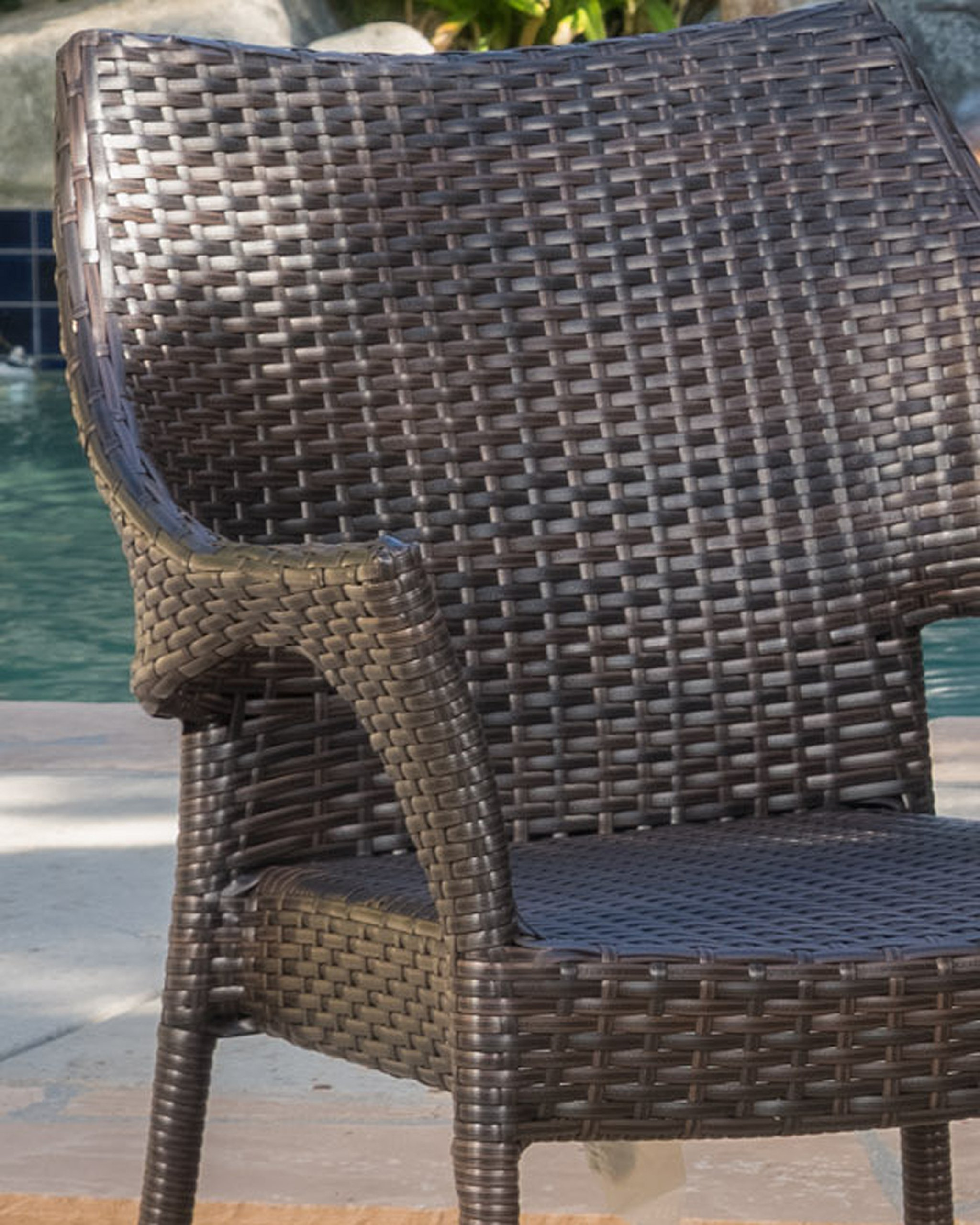 """Tahitian Patio Furniture ~ 3 Piece Outdoor Wicker Stacking Chair Conversation (Chat) Set (Brown) - Includes: Two (2) Outdoor Wicker Chairs and One (1) Outdoor Wicker Side Table Chair Dimensions: 24.00""""D x 24.00""""W x 32.75""""H Color: Multi-brown - patio-furniture, patio, conversation-sets - 91Z%2BzWMgsSL -"""