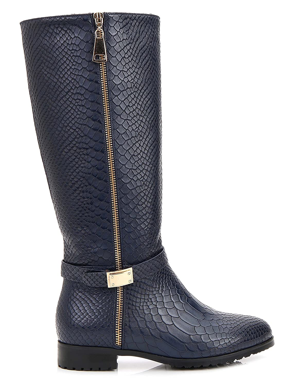 Rosewand Women's 'Selaron' Croc 12 Accent Strap Boots B07886LLXJ 12 Croc B(M) US|Navy 2839ee