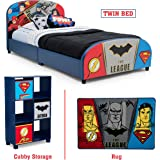 Delta Children – Justice League Twin Furniture Set, 3-Piece by DC Comics (Superman, Batman, Flash, Wonder Woman Upholstered Twin Bed | Storage Unit w/6 Cubbies and Bins | Flash, Batman and Superman