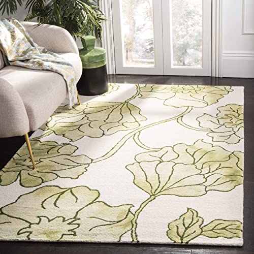 Safavieh Dip Dye Collection DDY683B Handmade Modern Floral Watercolor Ivory and Light Green Wool Area Rug 3 x 5