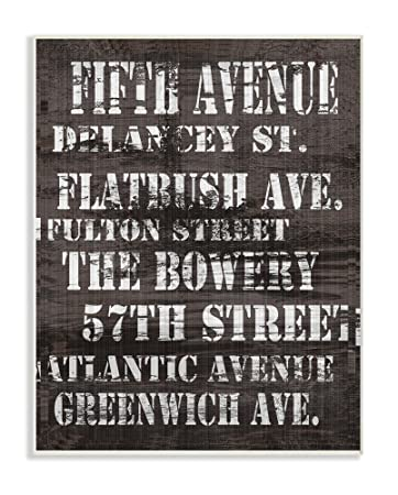Stupell Home Decor Fifth Avenue Distressed New York City Streets Wall Plaque Art 10 X