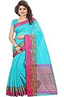 Ecolors Fab Women's Cotton Silk Saree with Blouse Piece (Blue sarees)