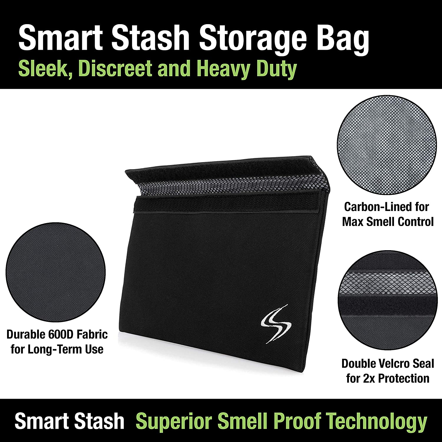 a25cf894d Amazon.com: Smell Proof Bag - Smart Stash Pouch 11x6 for Herbs, Weed  Grinder, Pipe | Large Odor Lock Container - Carbon Lined for Discreet  Odorless Travel ...