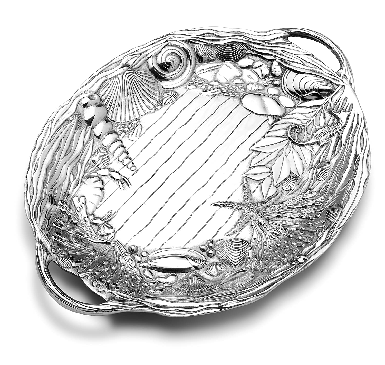 Coastal Christmas Tablescape Décor - sea life oval aluminum alloy tray with handles by Designer Wilton Armetale