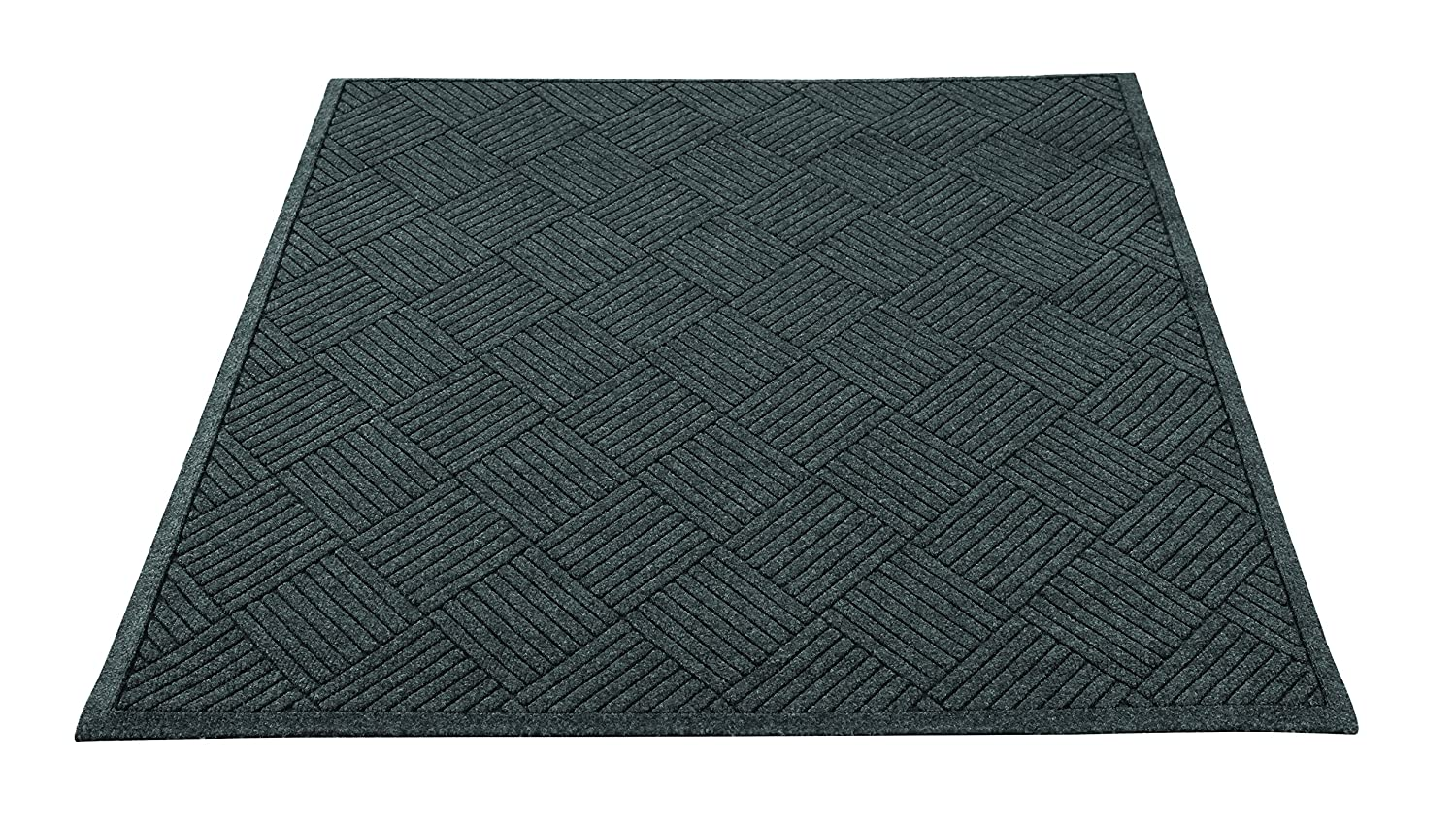 Guardian EcoGuard Diamond Indoor Wiper Floor Mat, Recycled Plactic and Rubber, 3'x5', Charcoal Black