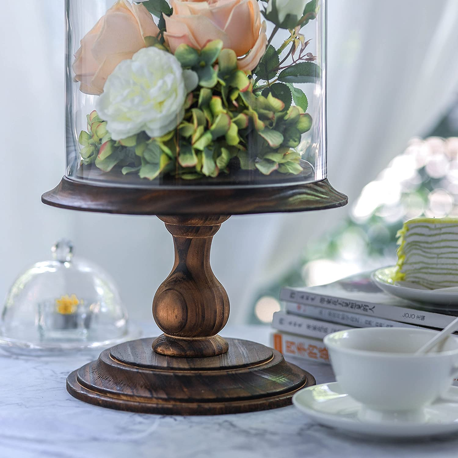 Glass Dome with Wood Base Large Pedestal Clear Display Cloche Bell Jar Vase Round for Necklace Rose Flowers Plants Home Table Decoration Terrarium Wedding Centerpiece Birthday DIY Decor Gift NCYP