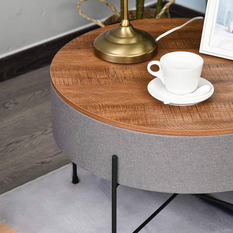 homcom Tavolino da Salotto da caff/è Rotondo Industriale Funzione stocaggio Gambe in Metallo Lino MDF per Soggiorno Marrone Ф60 x 40cm