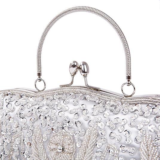 KISSCHIC retro ricamato donna pochette borsa blu scuro sacchetto borsetta da sera borsa pochette per cerimonia