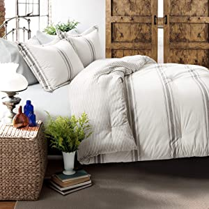 Lush Decor Comforter Farmhouse Stripe 3 Piece Reversible Bedding Set, Full Queen, Gray