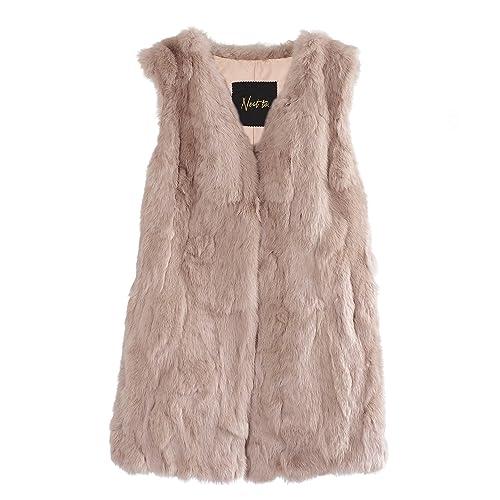 Elegante chaleco de piel auténtica de señora de piel de conejo en beige-burdeos-topo-negro de Neat to., NATAL
