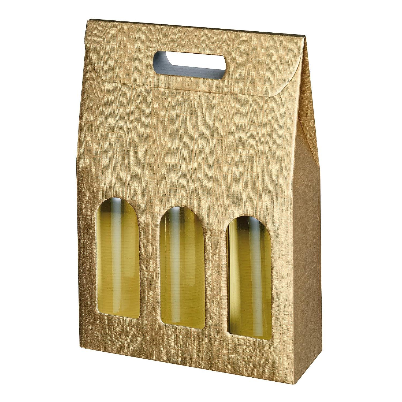 Susy Card 40000763Trage, confezioni regalo strutturali Gold, cartone ondulato, per 3bottiglie Pelikan