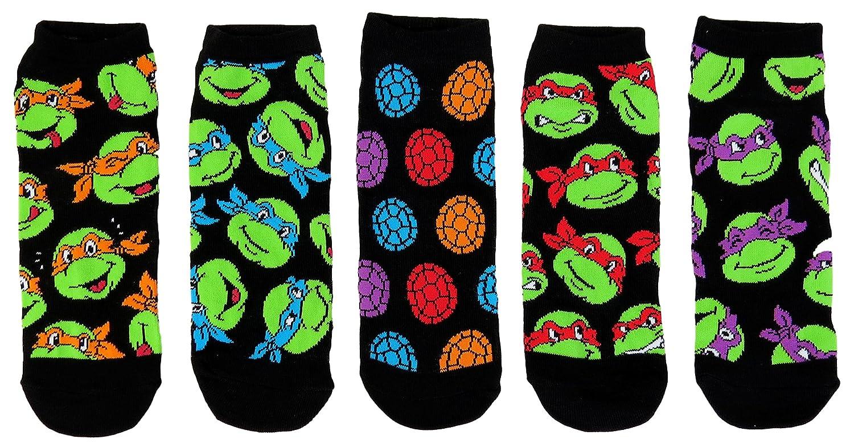 Teenage Mutant Ninja Turtles Mens Ankle-No Show Socks 5 Pair Pack