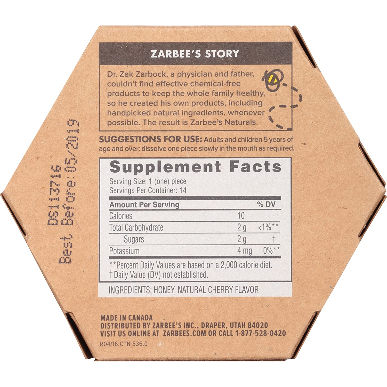Zarbees Naturals 99% Honey Cough Soothers, Natural Cherry Flavor, 14 Count