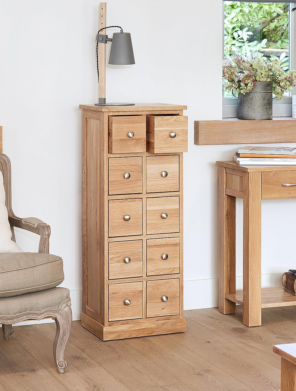 Baumhaus Mobel Oak Multi Drawer Dvd Cd Storage Chest Amazon Co Uk Kitchen Home