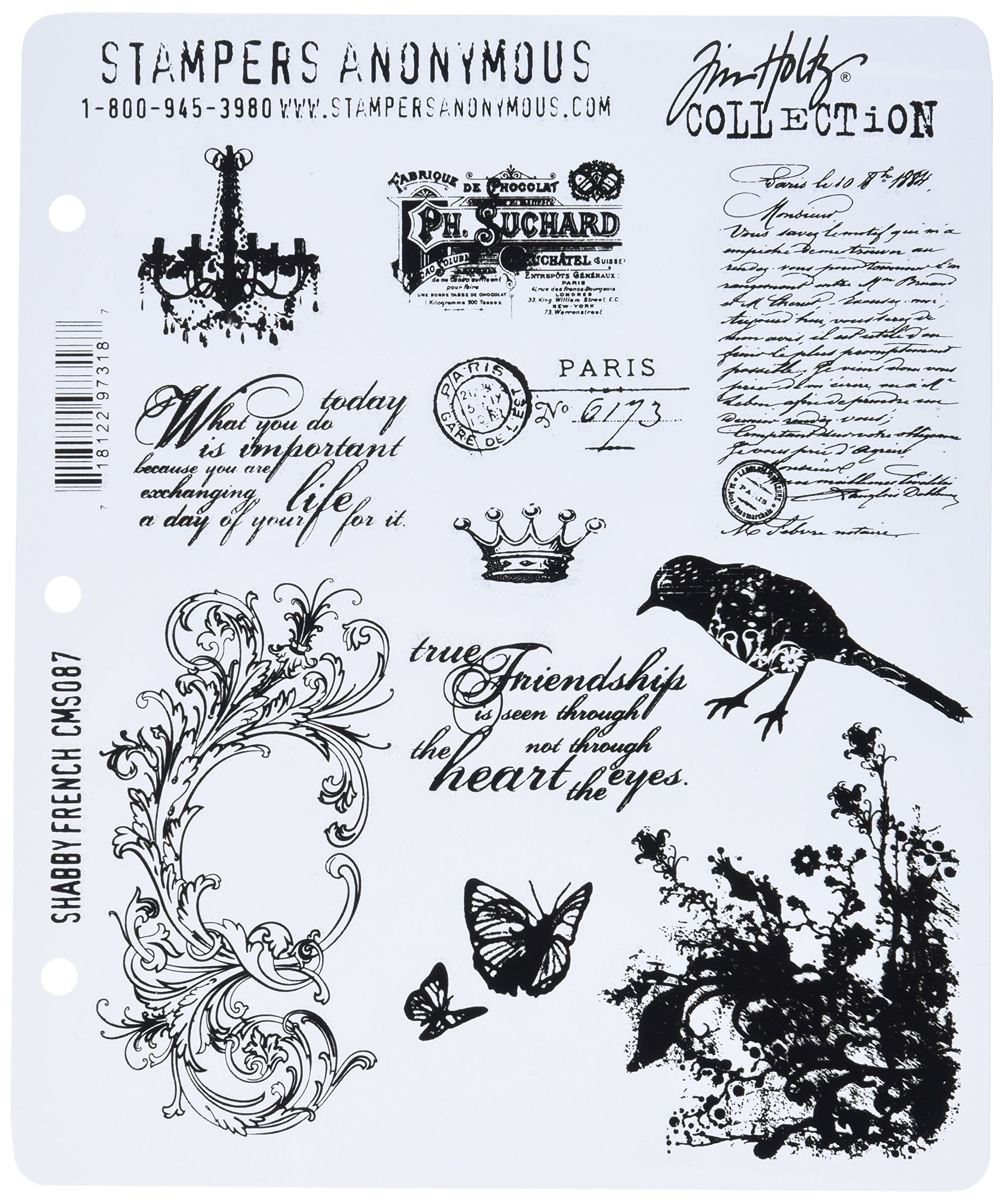 Stampers Anonymous Tim Holtz Large Cling Rubber Stamp Set, Shabby French by Stampers Anonymous
