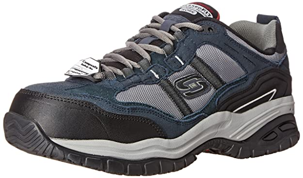 Amazon.com | Skechers Mens Work Relaxed Fit Soft Stride Grinnel Comp, Navy/Gray - 10.5 E US | Walking