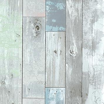 Brewster 2532 20416 Dean Distressed Wood Panel Wallpaper Blue