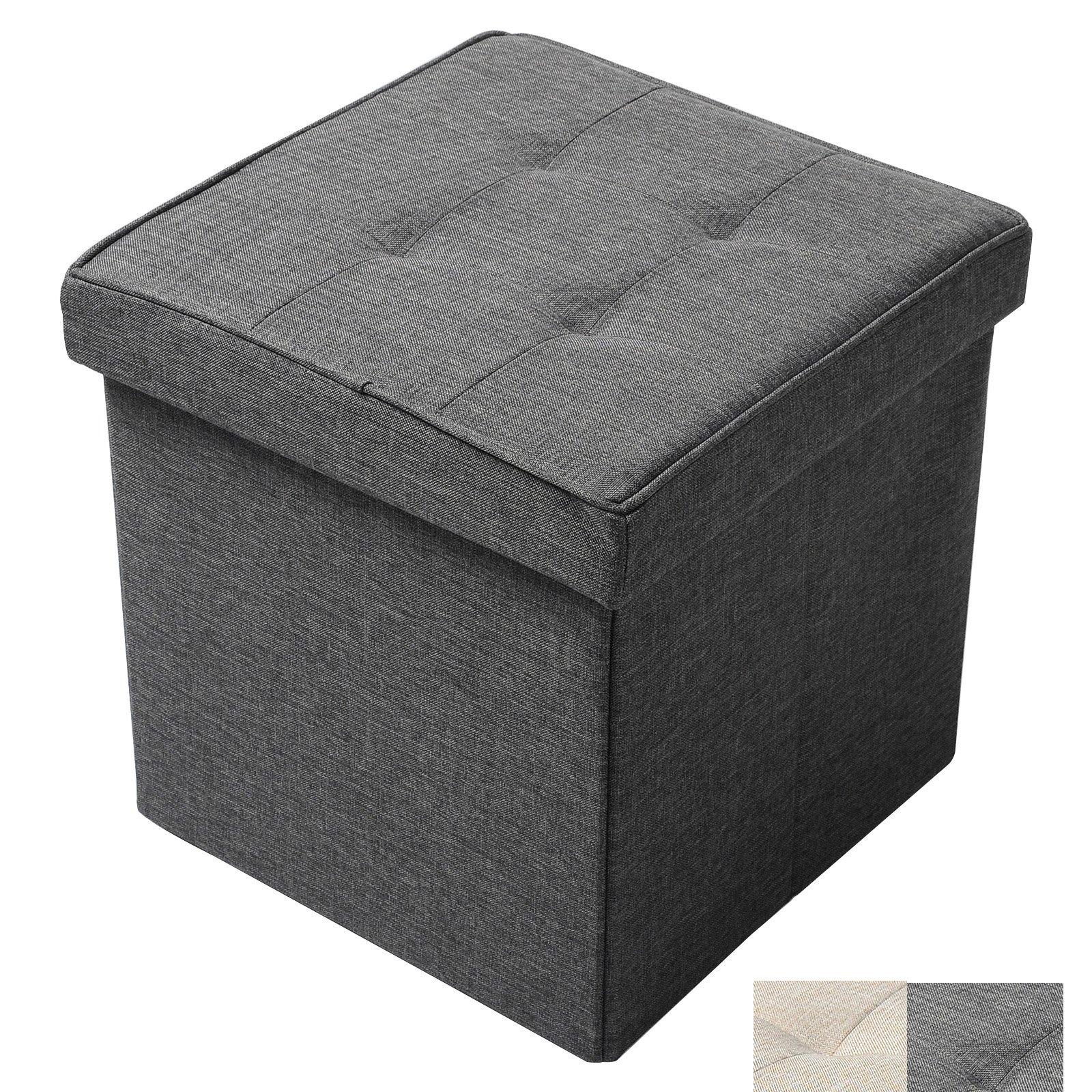 WOLTU Ottoman Foldaway Storage Blanket Toy Box Bench Oxford cloth Dark Gray Cube 15 inch