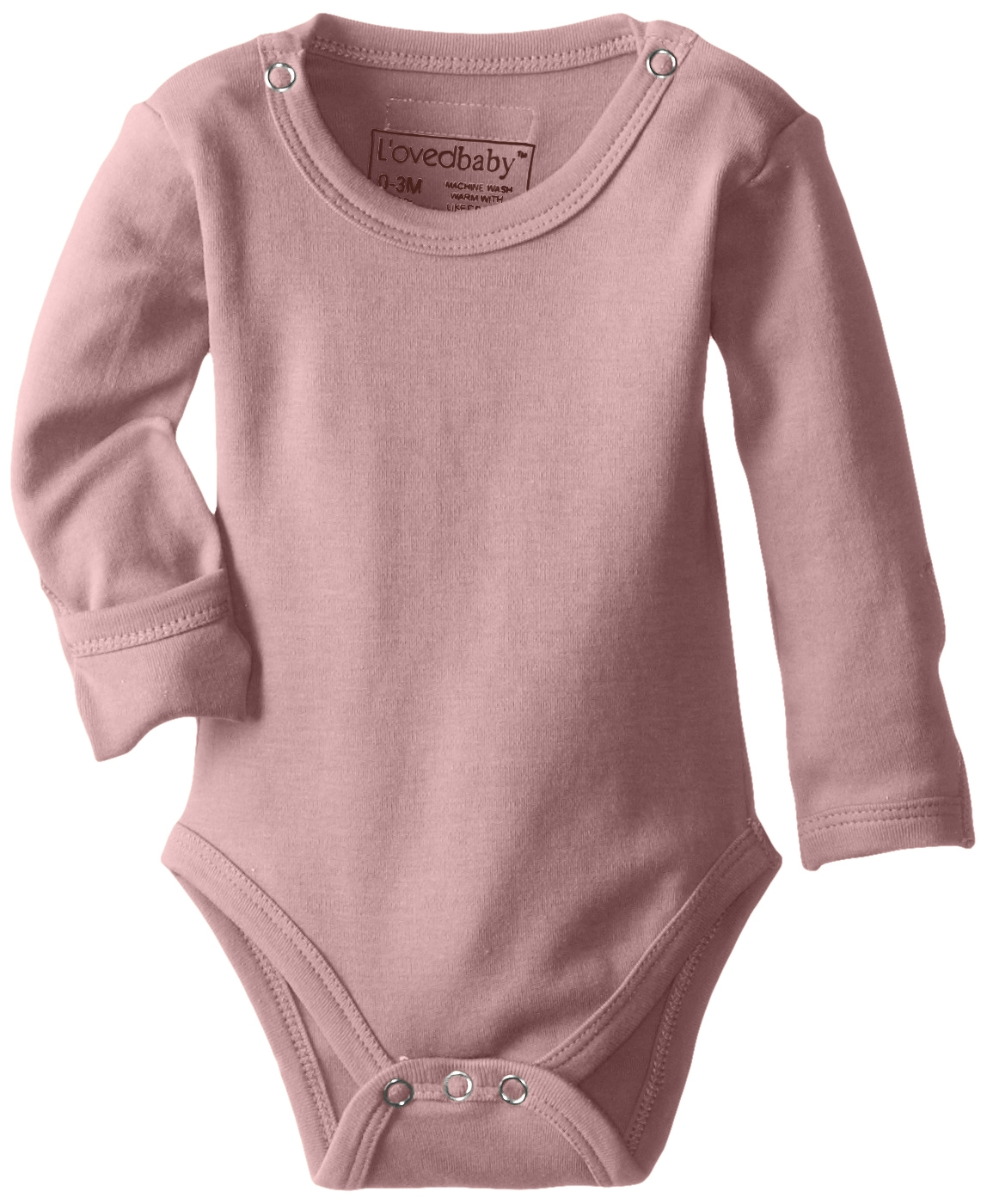 L'Ovedbaby Organic Gloved-Sleeve Bodysuit Mauve 0-3 Months 4
