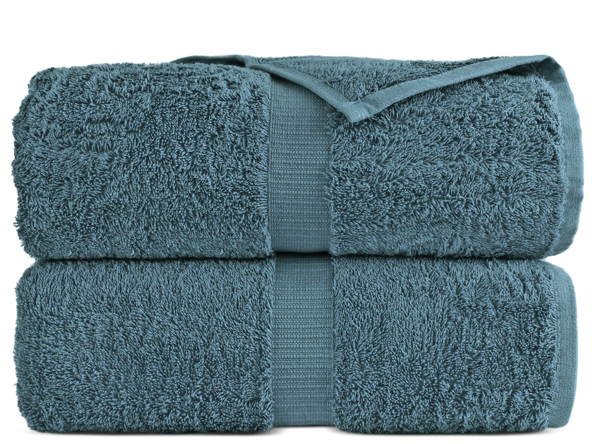 100% Luxury Turkish Cotton, Eco-Friendly, Soft and Super Absorbent 35'' x 70'' Large Bath Sheets (Tru Blue, Set of 2)