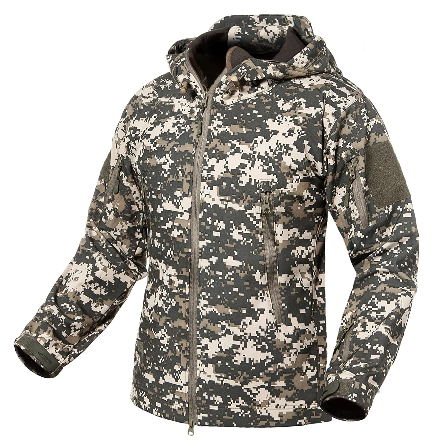 ReFire Gear Men\u0027s Soft Shell Military Tactical Jacket Outdoor Camouflage  Hunting Fleece Hooded Coat