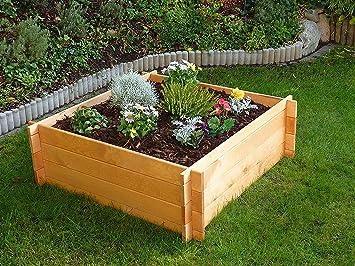 Erhohtes Pflanzbeet 100x100 Cm Hochbeet Beet Blumenbeet H 19 Cm Holz
