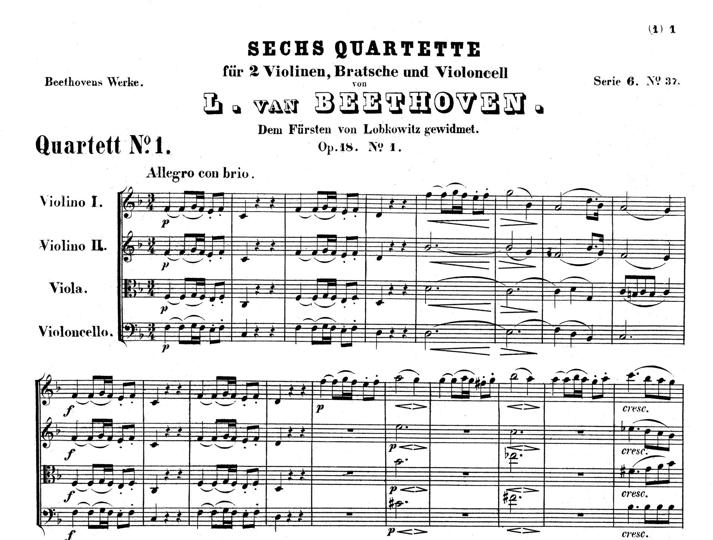 String Quartets Op.18 Ludwig van Beethoven String Quartet Set Score /& Parts
