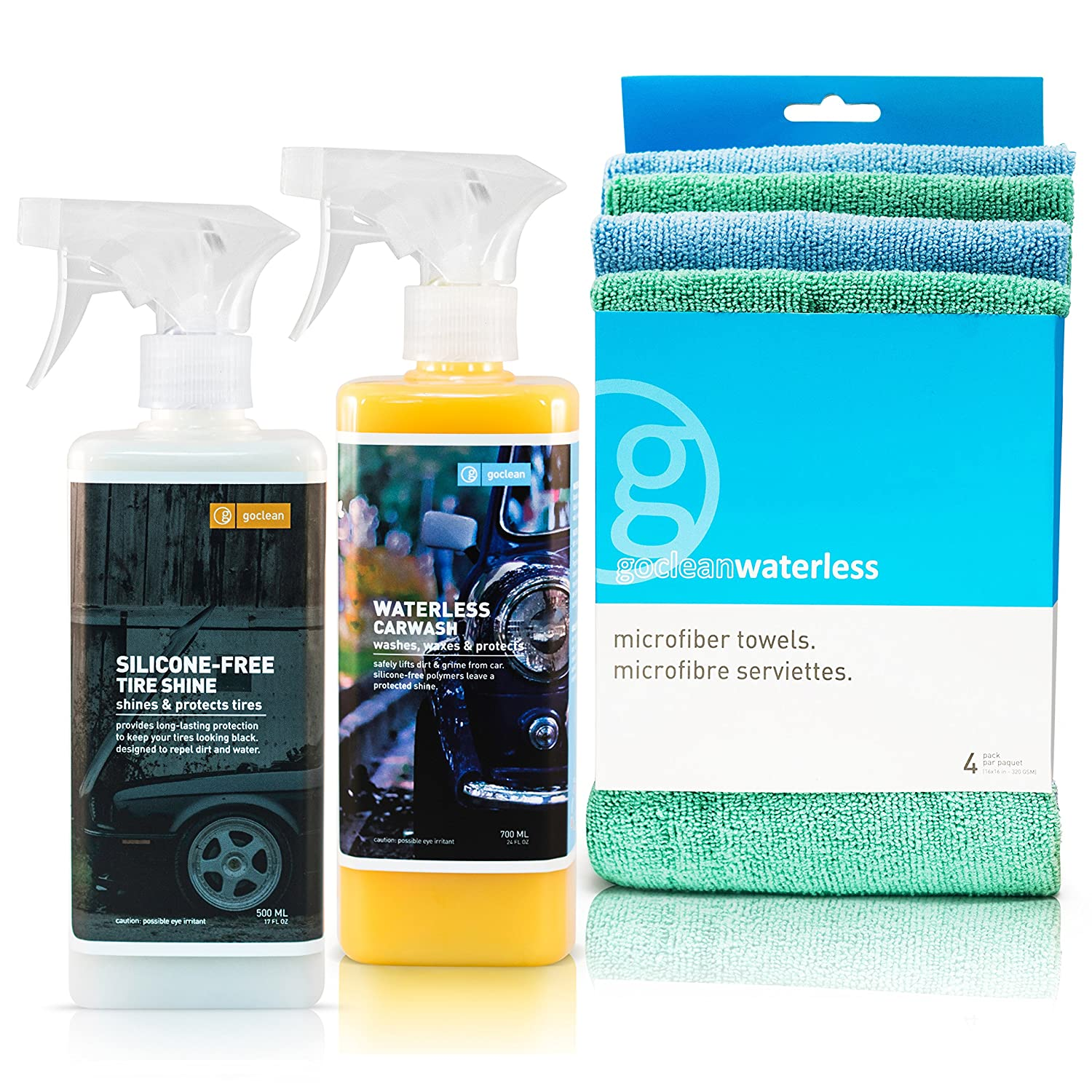 GOCLEAN 3pc EXTERIOR CAR CARE KIT | CAR WASH KIT | Waterless Car Wash & Silicone Free Tire Shine | For That Brilliant Car Show Finish & Clean New Tire Look | Turn Heads & Get Looks With The Commercial Grade Detailing Results With Our Car Cleaning Kit | Goc