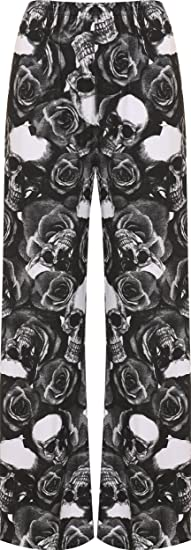f80d0cfe152 WearAll Women s Plus Size Skull Roses Print Ladies Palazzo Wide Leg Pants -  Black - US