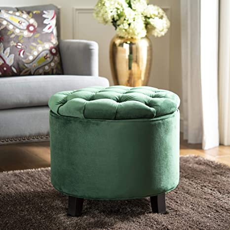 Surprising Safavieh Hudson Collection Amelia Tufted Storage Ottoman Emerald Ocoug Best Dining Table And Chair Ideas Images Ocougorg