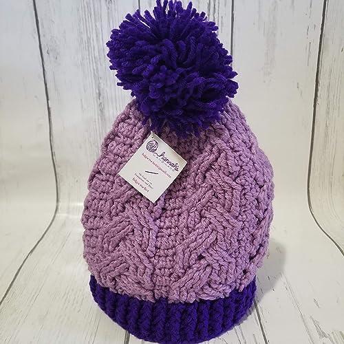 Crochet hat with umbrella purple  black 09-0400