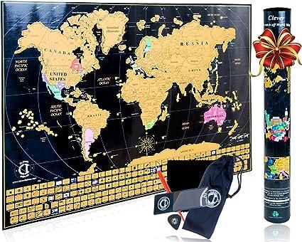 Clever Indoor - Mapamundi para rascar tipo póster –decorativo con los países marcados y sus banderas, colores vivos y brillantesRegalo perfecto para viajeros.Incluye bolígrafo para rascar.: Amazon.es: Oficina y papelería