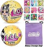 LOL Surprise Dolls Gift Bundle includes (1) L.O.L. Confetti Pop Wave 2 + (1) Pets Series 3 Wave 2 + 9 Shopkins Stickers + BONUS Action Media Storage Bag!