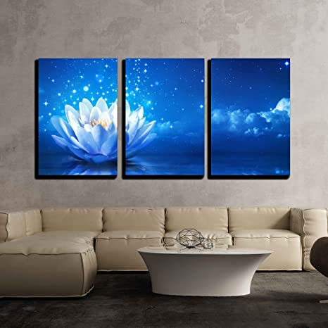 Amazon Com Wall26 3 Piece Canvas Wall Art Lotus Flower Floating On Water By Moonlight Modern Home Art Stretched And Framed Ready To Hang 16 X24 X3 Panels Posters Prints