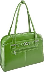 """McKlein, W Series, Oak Grove, Top Grain Cowhide Leather, 15"""" Leather Fly-Through Checkpoint-Friendly Ladies' Laptop Briefcase, Green (96631)"""
