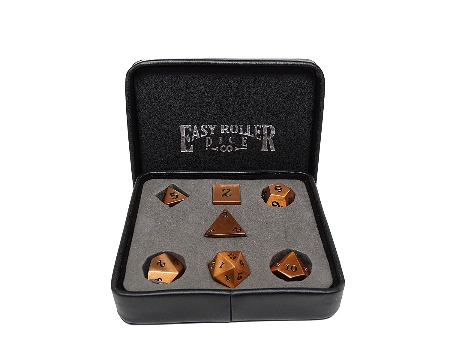 Easy Roller Dice Co. Legendary Copper Metal Polyhedral Dice Set with Black Signature Font 7 Piece Professional Edition FREE Display Case Hand Checked Quality Control   B07DLXR4D4