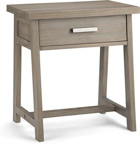 SIMPLIHOME Sawhorse SOLID WOOD 24 inch Wide Modern Industrial Bedside Nightstand Table