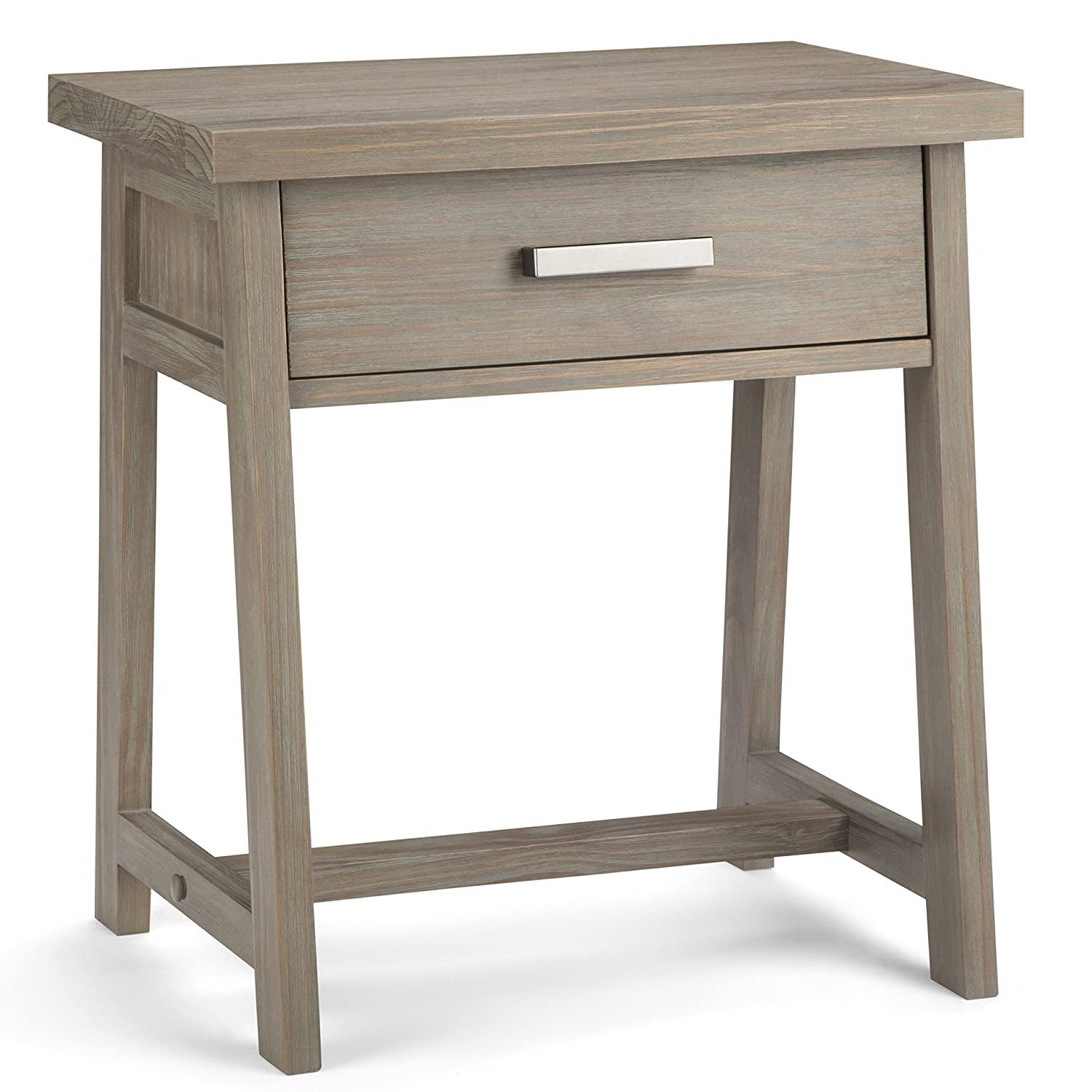 Simpli Home AXCSAW-BS-GR Sawhorse Solid Wood Modern Industrial Bedside Table in Distressed Grey