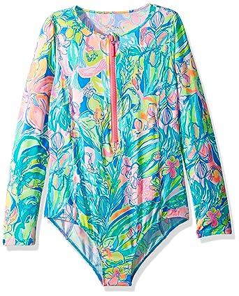 bd7b8a0ac7ac0 Lilly Pulitzer Little Girls' UPF 50+ Alaina Swimsuit, Bennett Blue Surf  Gysea,