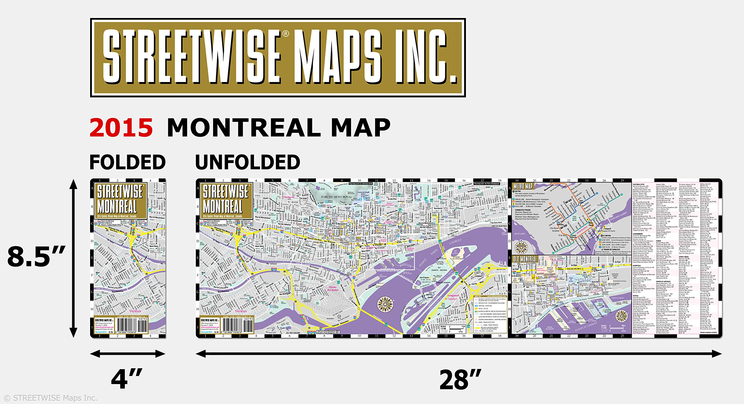 Canada Map Montreal.Streetwise Montreal Map Laminated City Center Street Map Of