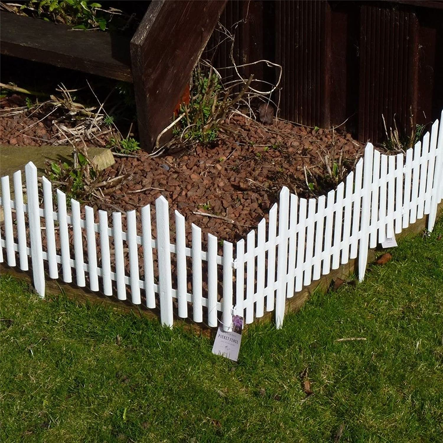 White Picket Fence Flower Bed Garden Edging Border for Grass Path Driveway Etc