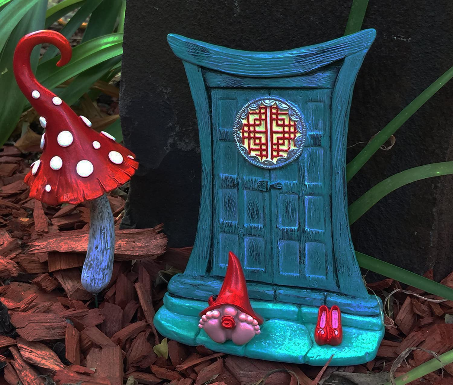 Miniature Zen Fairy Door for Miniature Garden Fairies and Gnomes Beautiful Turquoise Asian-Style Zen Fairy Miniature Door with Removable Red Fairy Shoes