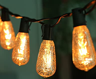 10 Ft Set Of 10 Mercury Glass St40 Edison Style Bulb Holiday String Lights Ul Listed Black Wire Crackled Finish Creating Mercury Glass Look Amazon Co Uk Diy Tools