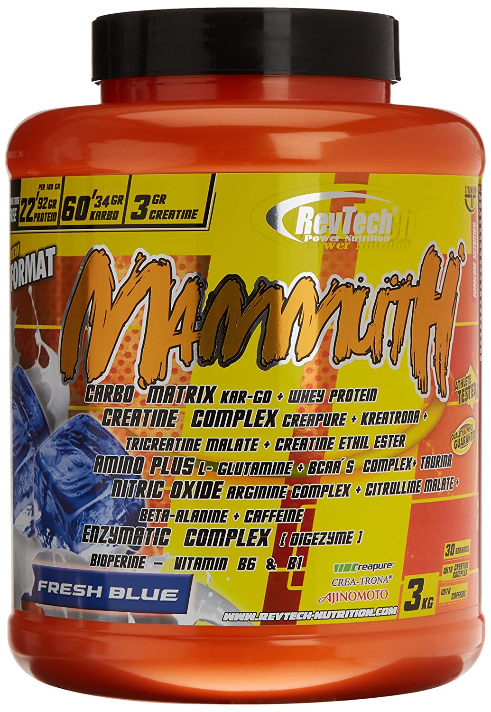 Revtech Mammuth Carbohidratos y Proteína, Sabor Fresh Blue - 3000 gr ...