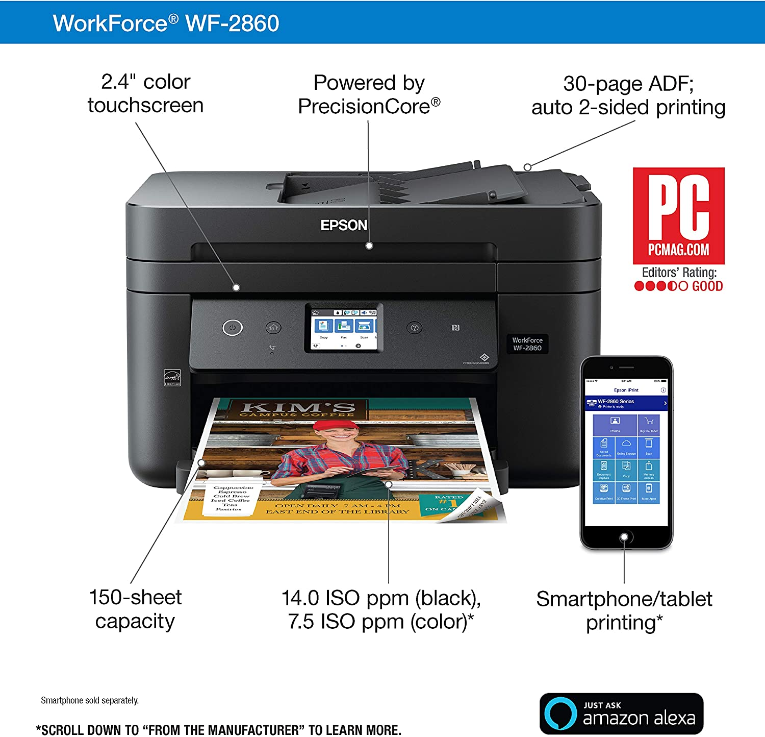 Epson Workforce WF-2860 All-in-One Wireless Color Printer with Scanner, Copier, Fax, Ethernet, Wi-Fi Direct and NFC,  Dash Replenishment Ready: Electronics