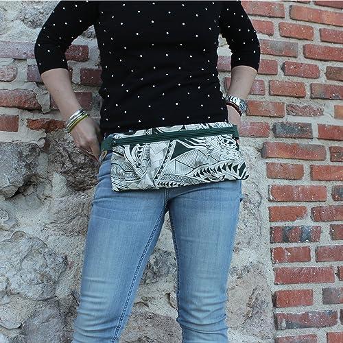 Riñonera Polinesia - Verde - Bolso cinturón hecho a mano en lona y algodón, cerrado