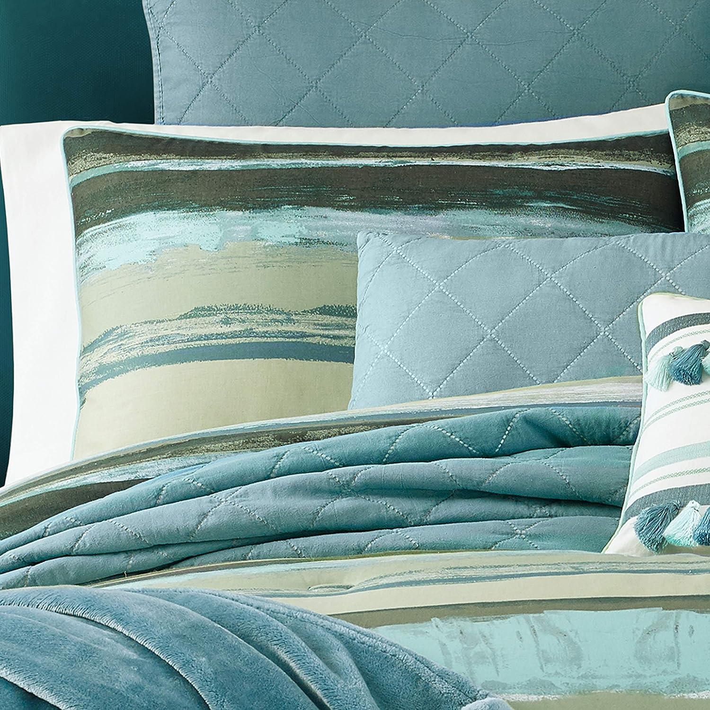 Forest Green Five Queens Court Cameron Watercolor Stripe 3 Piece Comforter Set Full//Queen 92x96