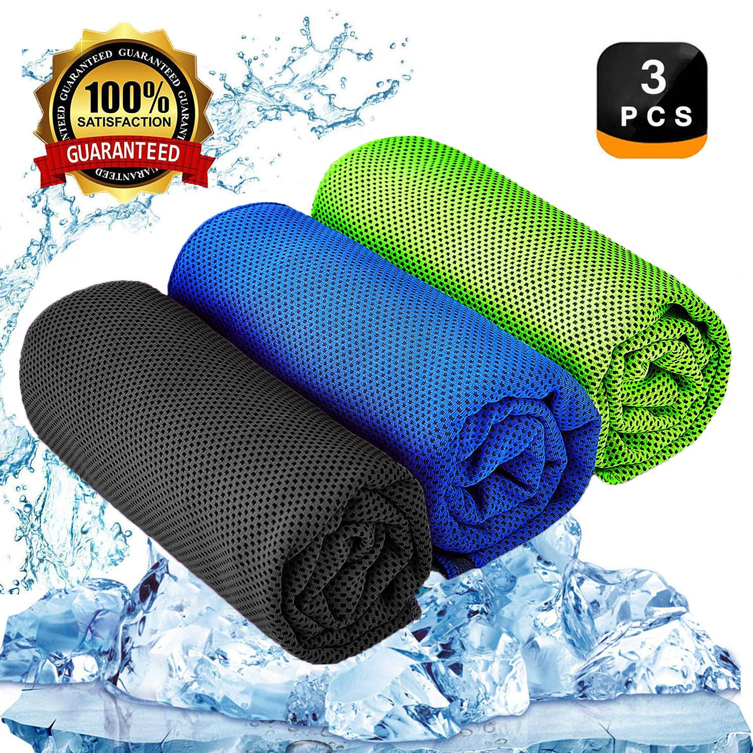 YQXCC Cooling Towel 3 Pcs (47''x12'') Microfiber Towel for Instant Cooling Relief, Cool Cold Towel for Yoga Golf Travel Gym Sports Camping Football & Outdoor Sports (Dark Blue/Dark Gray/Green) by YQXCC